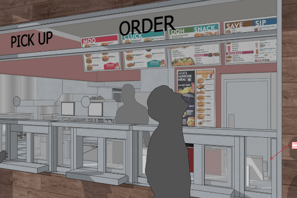 Jack in the Box restaurant counter