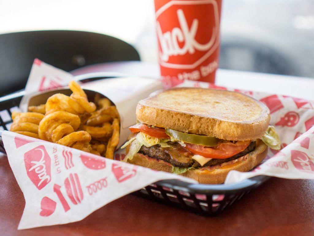 Jack in the Box sandwich, fries, drink